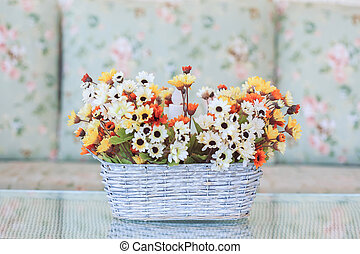 flowers in basket vase decorated living room