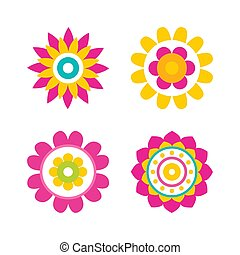 Flowers in Bloom Collection Vector Illustration