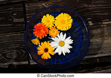 Flowers in blue cup