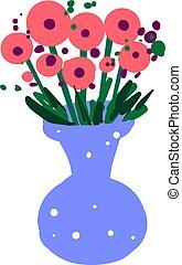 Flowers in blue vase, illustration, vector on white background.