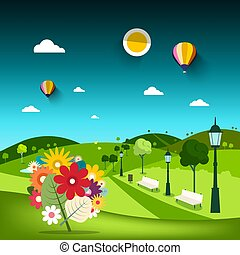 Flowers in Empty Park with Hills on Background and Path with Lamps. Vector Landscape.