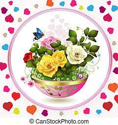 Flowers in flowerpot with roses and butterflies