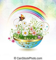 Flowers in flowerpot and butterflies
