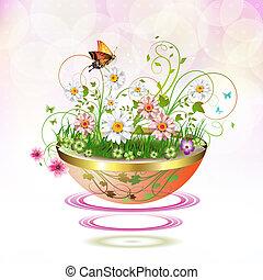 Flowers in flowerpot - Flowers in suspended flowerpot and...