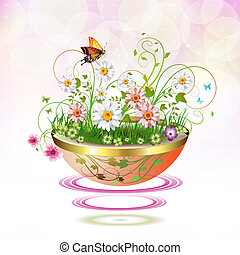 Flowers in flowerpot - Flowers in suspended flowerpot and...