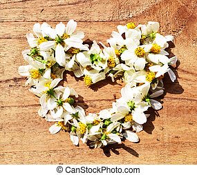 flowers in heart shape on green grass background