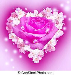 Flowers in heart shape - Card with bouquet flowers in heart...