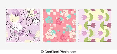 Flowers in pastel colors on background.
