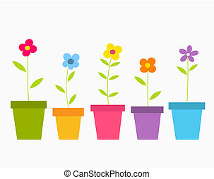 Cute spring colorful flowers in pots. Vector illustration