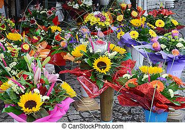 Flowers in street market