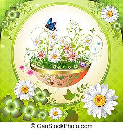 Flowers in the flowerpot and butterflies