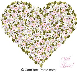 Flowers in the shape of a heart.
