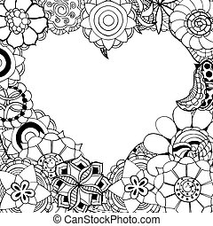 flowers in the shape of heart - Monochrome Frame from...