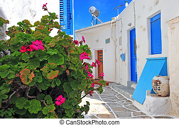 Flowers in the street of small greek town