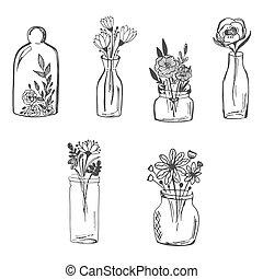 Flowers in vase, hand drawn, sketch vector illustration