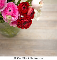 flowers in vase with copy space