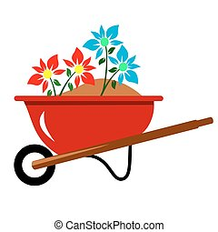 Flowers In Wheel Barrel - Red wheel barrel with soil and...