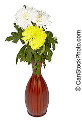 Flowers in wooden vase on white background