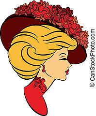 flowers., leány, kalap, mód