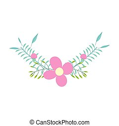 flowers leaves branch foliage decoration cartoon isolated icon design