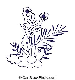 flowers leaves foliage nature decoration isolated icon line style