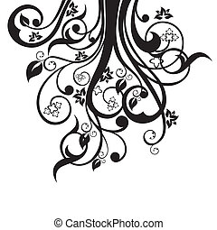 Flowers, leaves, swirls silhouette - Flowers, leaves and...
