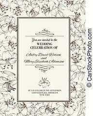 flowers., liliom, kártya, esküvő