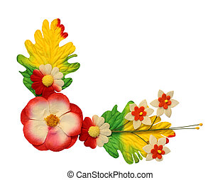 Flowers made of colorful paper used for decoration isolated on white