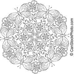 flowers., mandala, mendie, mariposas
