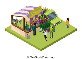 Flowers market isometric vector concept. Sale of flowers and fertilizers 3D illustration