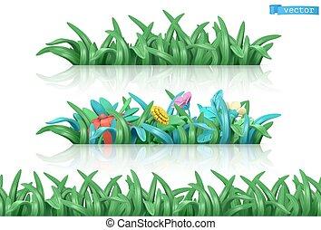 flowers., model, vector, 3d, gras, seamless, spotprent