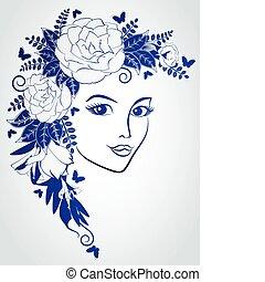 flowers., mujer, cara