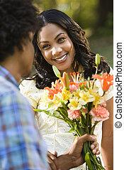 flowers., mulher, obtendo