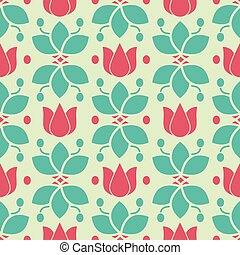 Flowers Nature Collection Illustration Seamless Pattern Background 03