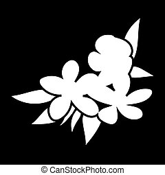 flowers of jasmine isolated logo icon. white silhouette....