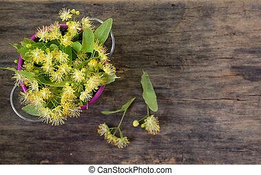 Flowers of linden tree in bucket