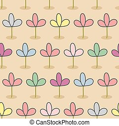 Flowers on a bed. Garden Seamless floral pattern. Color sprouts on brown background. Retro fabric ornament