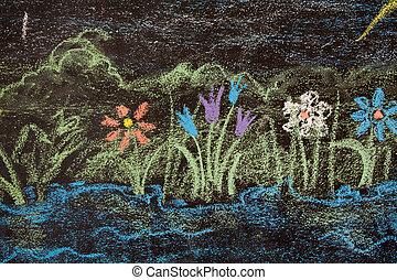 flowers on a blackboard