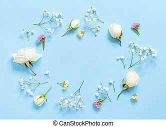 Flowers on a light blue background