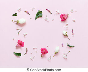 Flowers on a light pink background