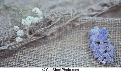 flowers on a linen background