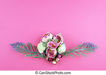 Flowers on a pink background.
