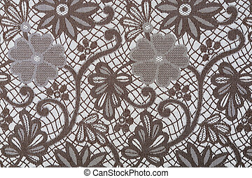 Flowers on a textil background - Brown flowers on a textil...