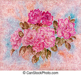 Flowers on a wool - Flowers and leaves azalea, drawing a...