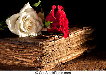 Flowers on antique book - Romantic roses lying on a medieval...