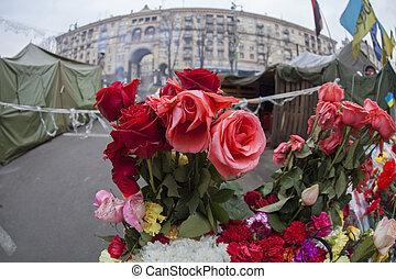 Flowers on barricades.
