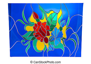 Flowers on blue background - stained glass