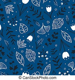 Flowers and leaves on blue background, seamless pattern