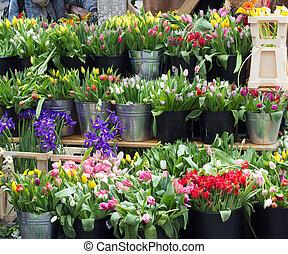 flowers on city street market