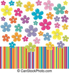 Flowers on colorful stripe background